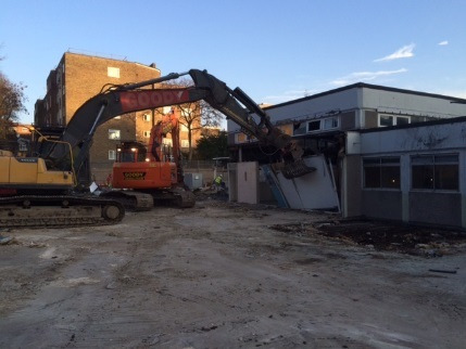 Demolition of the existing school above ground structure in progress