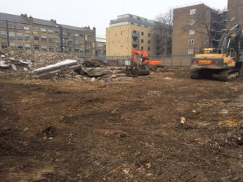 Demolition of the existing school foundations in progress