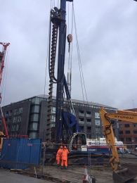 Secant wall piling in progress