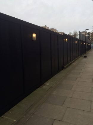Hoarding completed along Jasper Walk