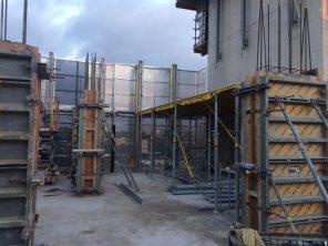 Tower floor and column construction in progress