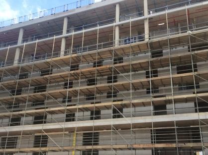 Nile Street block scaffold erection in progress