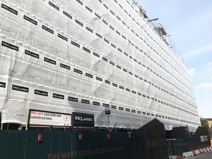 Nile Street Block scaffold